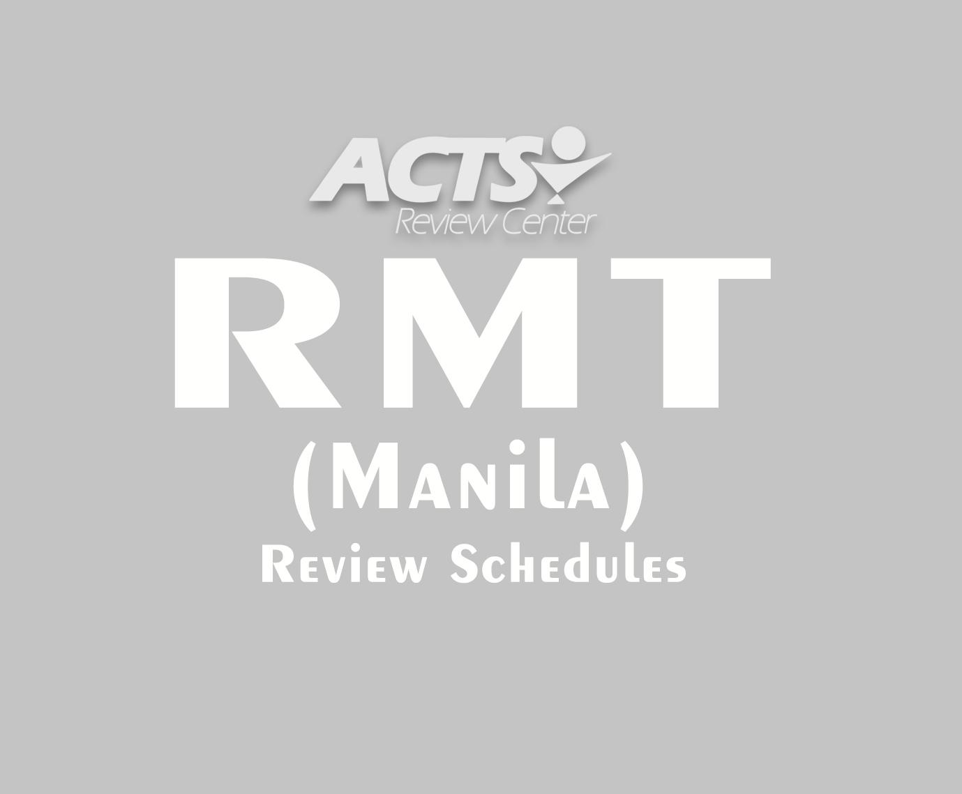 Review Schedules for September 2019 Medical Technologists Licensure Examination